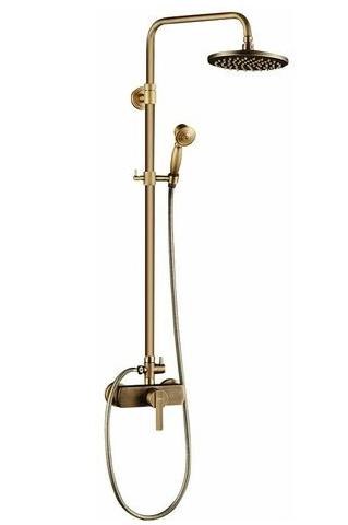 colonne de douche dorée